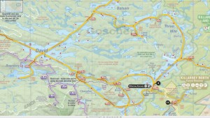 The portion of Jeff's Killarney Map that shows our route. (Click for larger version)